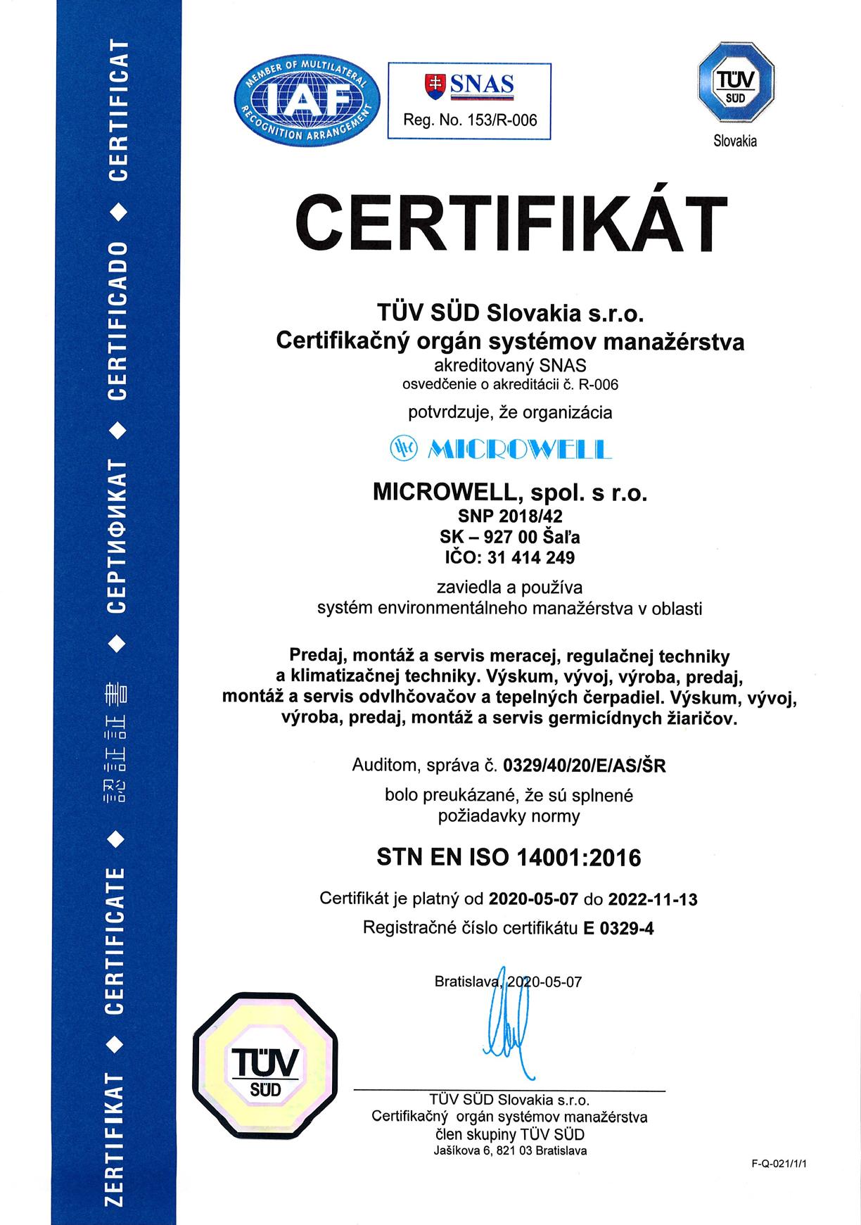 Sk ISO 14001 2020 2022