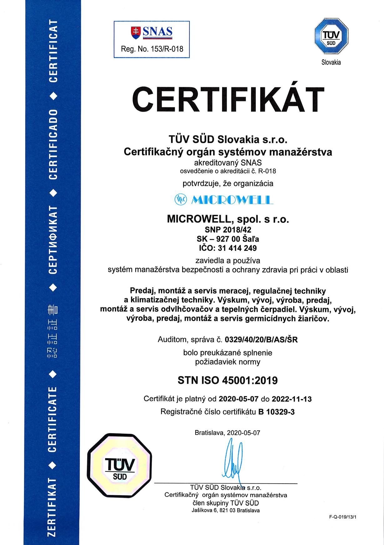 Sk ISO 45001 2020 2022