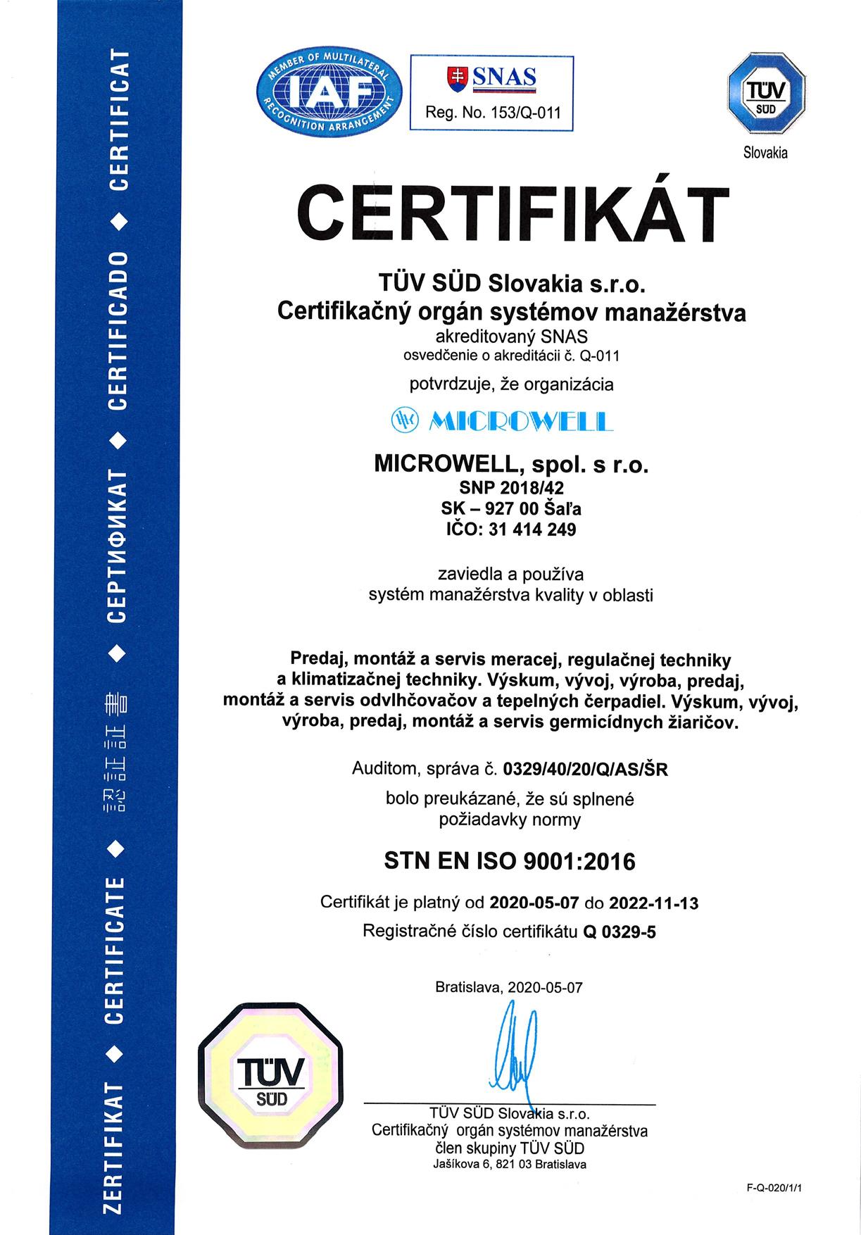 Sk ISO 9001 2020 2022